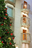 Christmas Tree by Chrome Balconies Royalty Free Stock Image