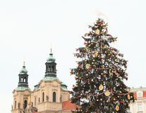 Christmas tree with Church of St. Nicolas stock images