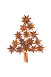 Christmas tree of cinnamon sticks and star anise Royalty Free Stock Photography