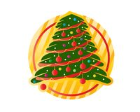 Christmas tree with circle. Christmas tree within gold circle with red circles, illustration design, isolated on white background Royalty Free Stock Photography