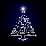 Christmas tree circuit board blue.jpg Stock Photography