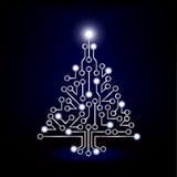 Christmas tree circuit board blue. A Christmas tree circuit board on blue green background