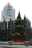 Christmas tree in city. Chirstmas tree in downtown Pittsburgh Royalty Free Stock Image