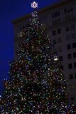 Christmas tree in the city royalty free stock photo