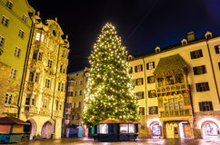 Christmas tree in the city centre of Innsbruck Stock Photos