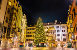 Christmas tree in the city centre of Innsbruck. Austria Royalty Free Stock Images