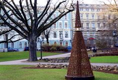 Christmas tree in the city garden. Unusual Christmas tree in Riga city landscape royalty free stock image