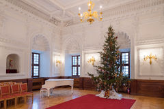 Christmas tree in city hall, ballroom interior, Kaunas, Lithuania Stock Images