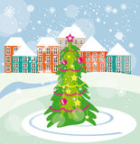 Christmas tree on the city square. Vector graphic image with christmas tree on the city square Stock Photo