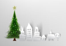 Christmas tree and City street background made of paper Stock Image