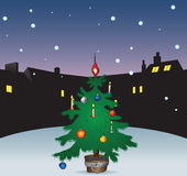 Christmas tree in the city. Winter night with a Christmas tree in the city. Vector illustration without trace Stock Photo