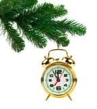 Christmas tree and clock Stock Photography