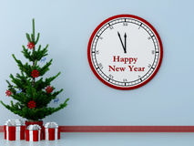 Christmas tree and clock Stock Photo