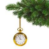 Christmas tree and clock Royalty Free Stock Photo