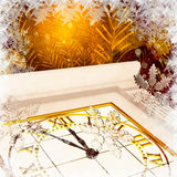 Christmas Tree, clock and snowflakes, fiery abstract background. Royalty Free Stock Photo