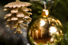 Christmas Tree. Close up of a decorated Christmas Tree with Baubles and other colourful decorations Royalty Free Stock Images