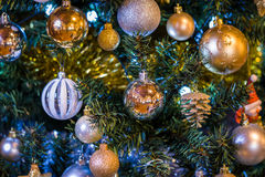 Christmas Tree. Close up of a decorated Christmas Tree with Baubles and other colourful decorations Stock Photos