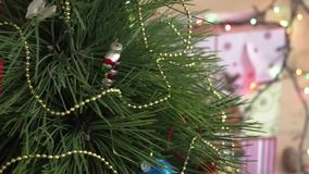 Christmas Tree close-up slow rotated stock footage