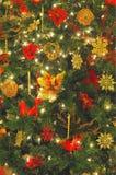 Christmas Tree Closeup. Closeup of christmas tree with ornaments and lights stock photo