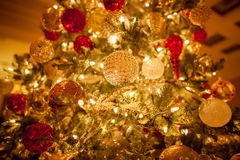 Christmas tree closeup, decorations and toys Stock Photos