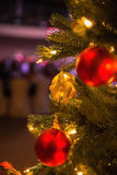 Christmas tree closeup, decorations and toys Royalty Free Stock Photos