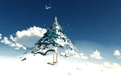 Christmas tree in cloud Royalty Free Stock Photography
