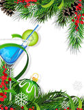 Christmas tree and cocktail Royalty Free Stock Images