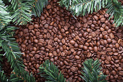 Christmas tree and coffee background Royalty Free Stock Photography