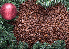Christmas tree and coffee background Stock Photography