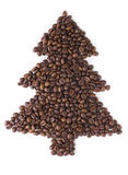 Christmas Tree   from coffee beans. Stock Image