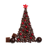 Christmas tree from coffee beans Stock Images