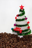Christmas tree on the coffee beans Royalty Free Stock Photo