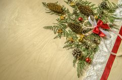 Christmas tree is collected from twigs of thuja with fir cones Royalty Free Stock Photography