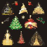 Christmas tree collection. Stock Photo