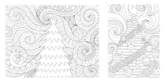 Christmas tree collection for printed cards,invitation,wall decoration and adult coloring book page for anti stress.Vector illustr stock illustration