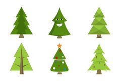 Christmas Tree Collection Spruce Icons with Decor. Christmas tree collection of spruce icons with decorative elements, emoji pines with cones, forest fir-trees Royalty Free Stock Image