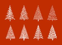 Christmas tree, collection for your design royalty free illustration