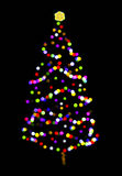 A Christmas Tree with Color Circles on Black Royalty Free Stock Photography