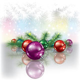 Christmas tree and color decorations Royalty Free Stock Image