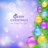 Christmas tree with colored balls Royalty Free Stock Photo
