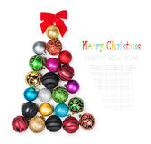 Christmas Tree of the colored balls on a white Royalty Free Stock Image