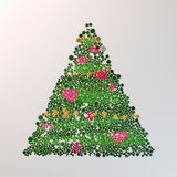 Christmas tree with colored buttons on white background 3d rendering Royalty Free Stock Photos