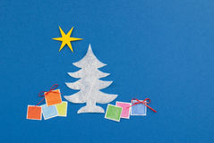 Christmas Tree and colored gifts Royalty Free Stock Image