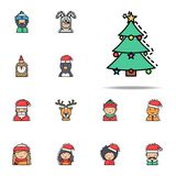 Christmas tree colored icon. Christmas avatars icons universal set for web and mobile. On white background vector illustration