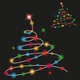Christmas tree with colored lights. Illustration of Christmas tree with colored lights on black background Stock Image