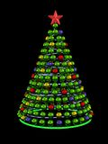 Christmas tree from colored mirror spheres Stock Photo