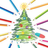 Christmas tree with colored pencils Royalty Free Stock Photo
