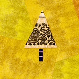 Christmas tree colorful background in vibrant yellow. Vibrant colorful background in yellow Christmas tree made with fabric and paper scraps Royalty Free Stock Photos