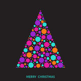 Christmas tree with colorful balls on black background. Stock Photos