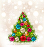 Christmas tree and colorful balls on light background Stock Photography